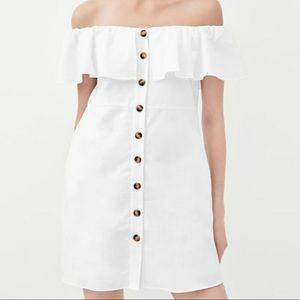 Zara Blogger Fave XS Cotton Daytime Dress White